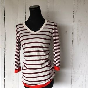 3/4 sleeve striped v neck pull over sweater top